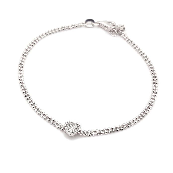 3e45fa8b912 Bracelet Femme Cœur Point Lumière zirconium en argent 925 rhodié en or  blanc  Amazon.fr  Bijoux