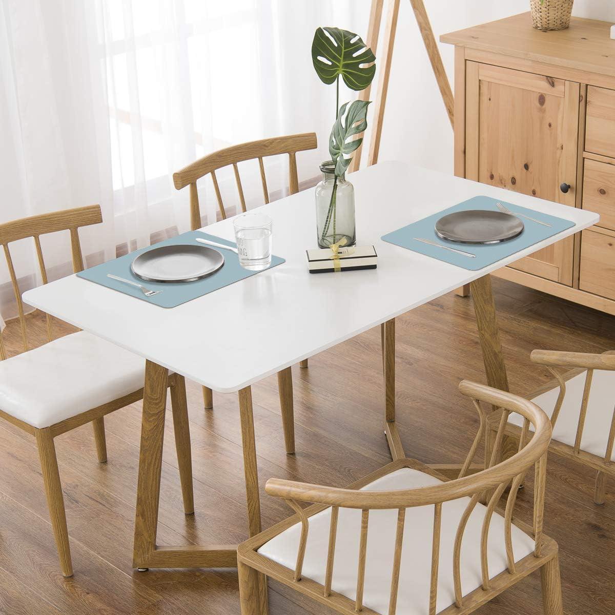 Set da 6 Tovagliette per Tavolo da Cucina Azzurro MORROLS PU Tovagliette Lavabili Isolamento Termico in Ecopelle Impermeabile