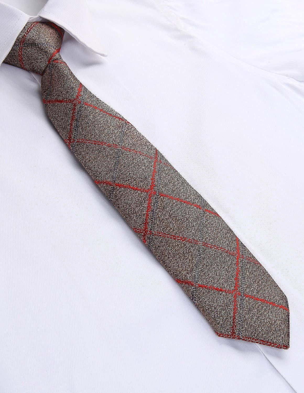 Enlision Boys Check Pre-Tied Neckties /& Pocket Square Set Neck Strap Tie for Kids