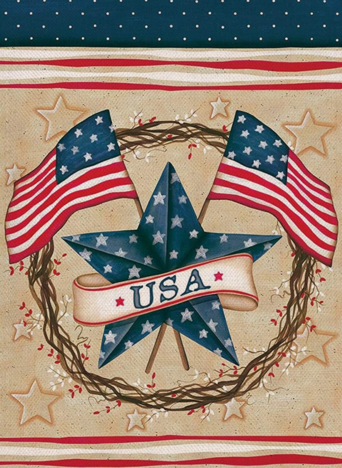 Covido 4th of July Home Decorative Garden Flag, Patriotic American Flag House Yard Decor Spring Summer USA Star Sign Holiday Welcome Outside Decoration Seasonal Outdoor Small Flag Double Sided 12 x 18