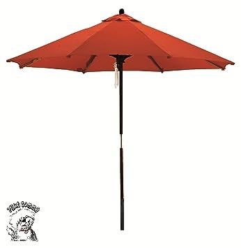 Deluxe Market Umbrella In Red Orange
