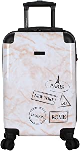 BCBGeneration Designer Luggage Collection - Expandable 20 Inch Carry On (ABS+PC) Hardside Suitcase - Lightweight Small Bag with 8-Rolling Spinner Wheels (Pink Marble Locations)
