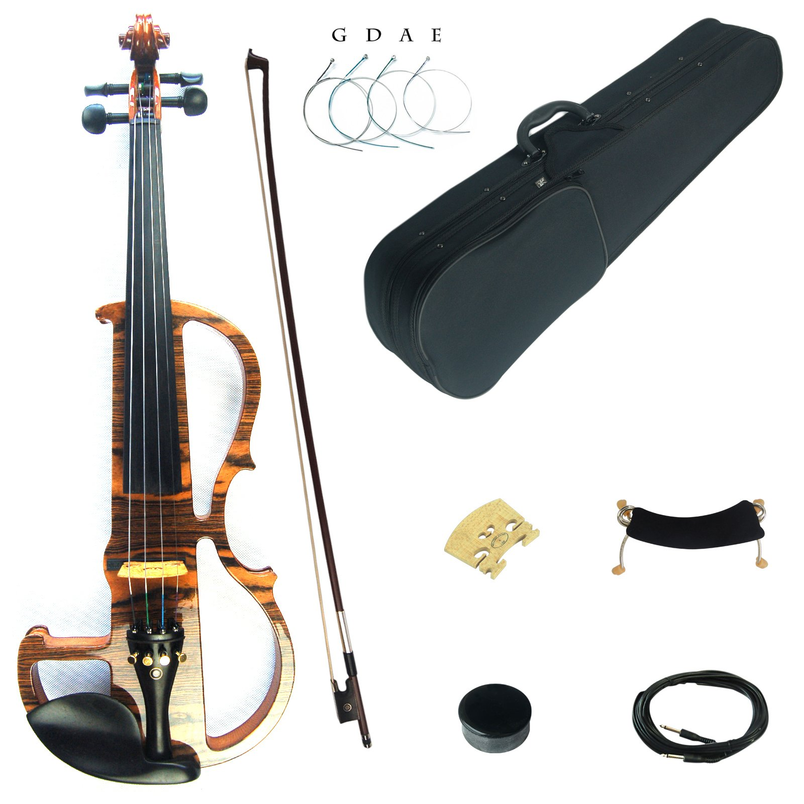 Kinglos 4/4 Solid Wood Advanced Wood Grain Electric/Silent Violin Kit with Ebony Fittings Full Size (MWDS1902)