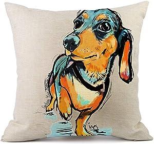 "Redland Art Cute Pet Animal Dachshund Dog Pattern Throw Pillow Covers Cotton Linen Cushion Cover Cases Pillowcases Car Sofa Home Decor 18""x 18""Inch (45 x 45cm)"