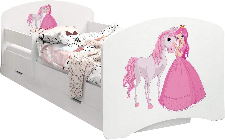 Happy Babies – Cama infantil de doble cara con cajón de goma, diseño moderno con bordes seguros y protección contra caídas, colchón de espuma de 7 cm 09. Princesa con caballo. Talla:160x80