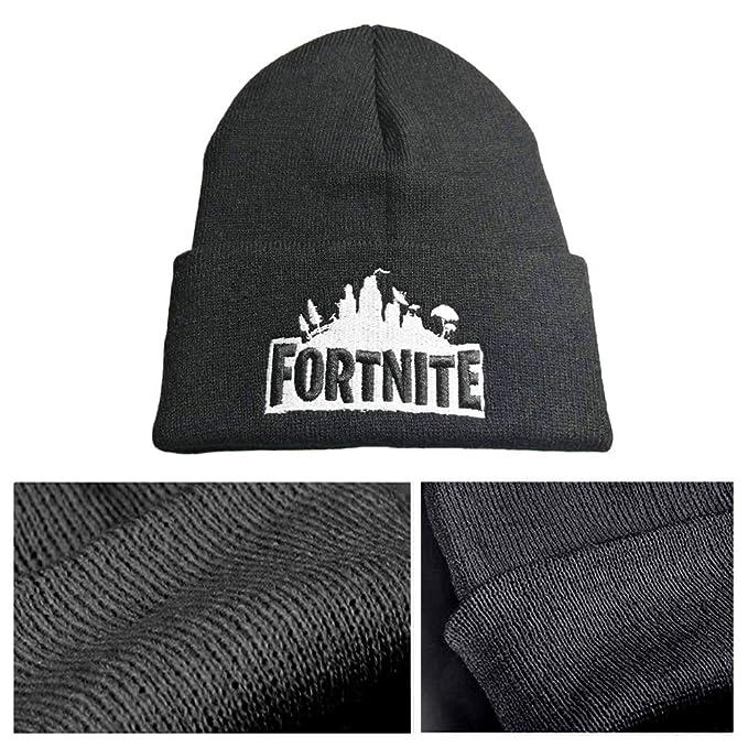 f803a683fdf liaoting938 Kid Boy Girl Fortnite Letter Embroidered Knitting Skull Cap  Winter Warm Hat Black Adult Basktball