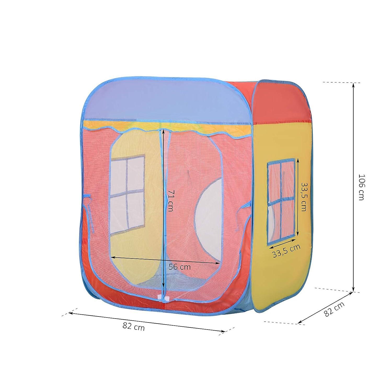 82 x 82 x 106 cm Spielzelt im Hausmuster HOMCOM Kinderspielhaus Polyester Selbstaufstellen 2 Mesht/üren und -fenster