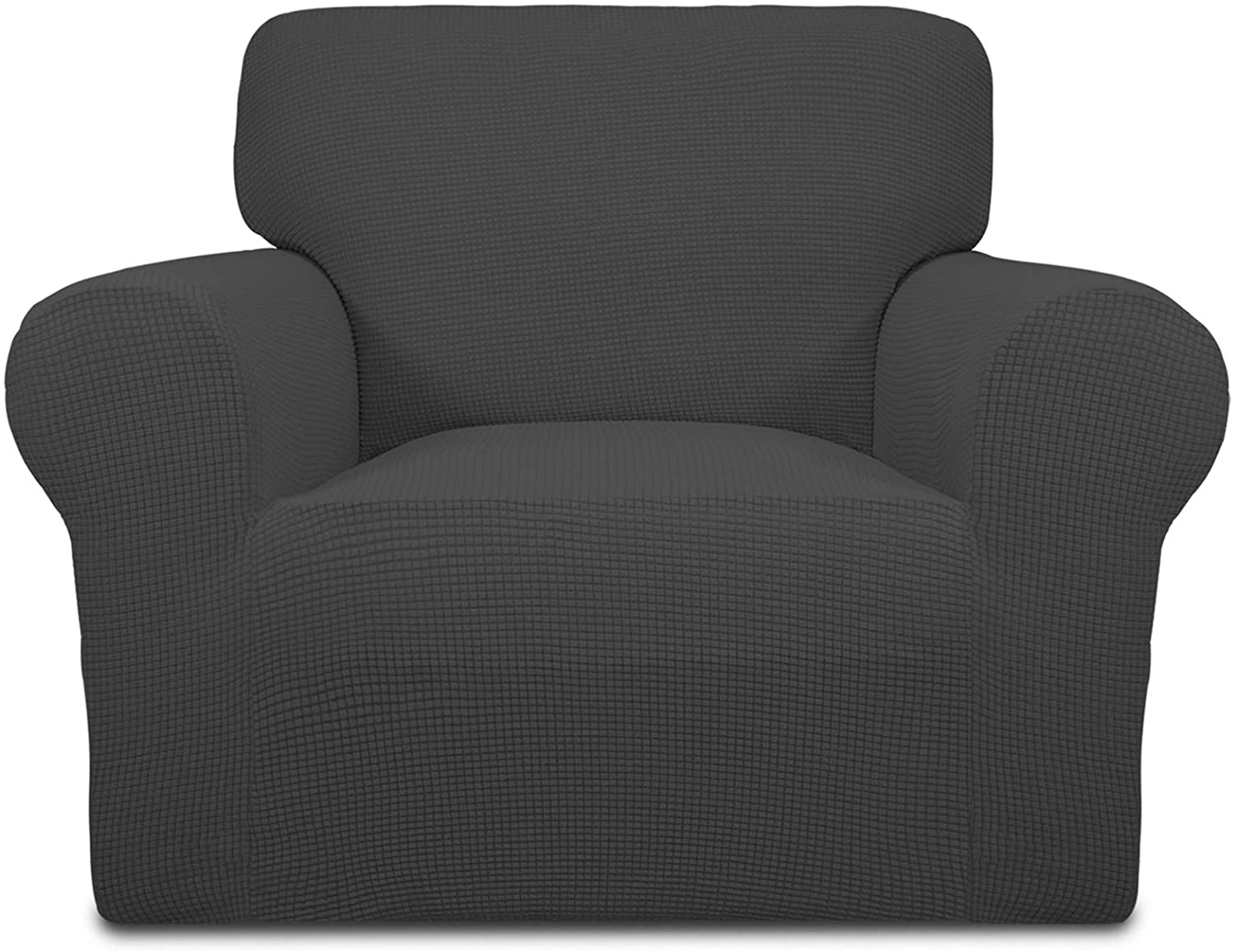 Easy-Going Stretch Oversized Chair Sofa Slipcover 1-Piece Couch Sofa Cover Furniture Protector Soft with Elastic Bottom for Kids Spandex Jacquard Fabric Small Checks Dark Gray