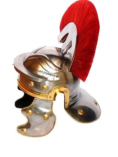 Co centurión romano caballero Medieval casco oficial Armor disfraz rojo penacho
