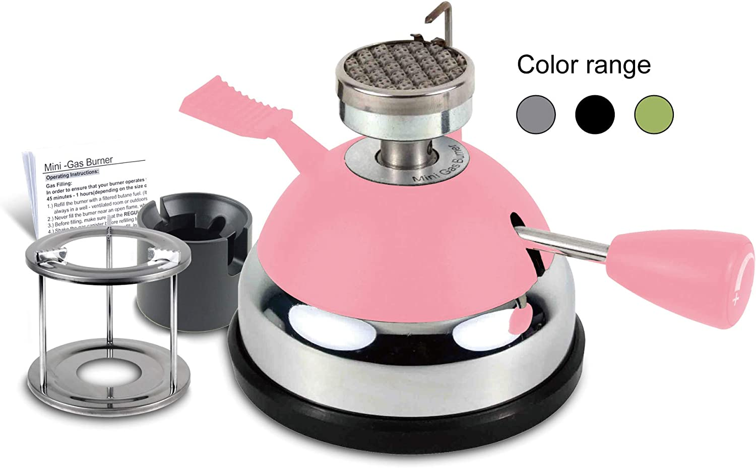 BLUEFIRE Butane Mini Burner for Tabletop Siphons Syphon, w Furnace Stand and Assembly Rack,Ceramic Windproof Torch Head,Portable Cooking Stove,Coffee Espresso Maker,Chafing,Soup Tureens,Fondue (Pink)