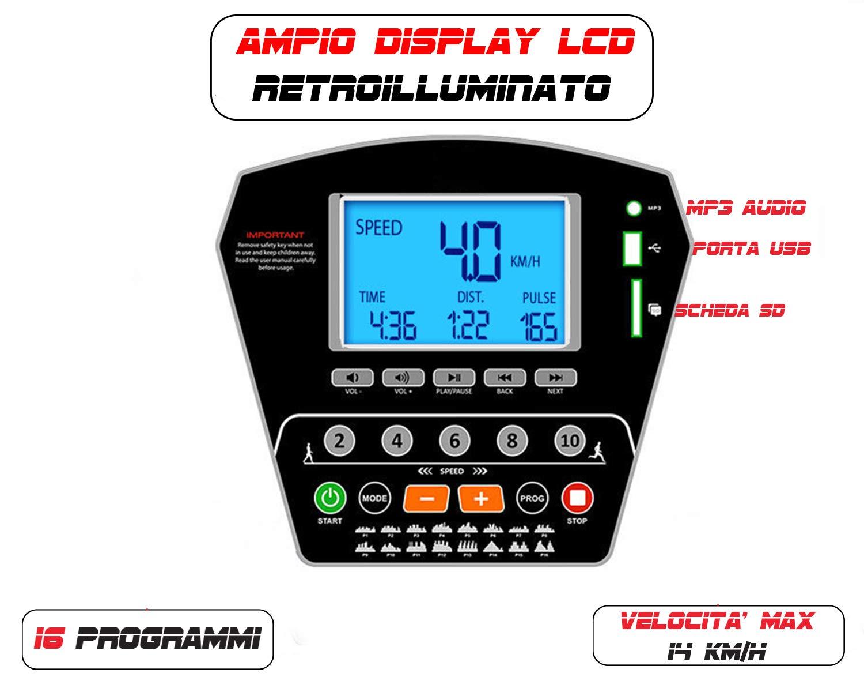 Controllo Via App-Compatto con Ruote e Porta Tablet-cardiofrequenzimetro Incluso velocit/à Massima 12km//h Ideale per Allenamento A CASA /… GO SPORT Tapis ROULANT Elettrico Professionale Pieghevole