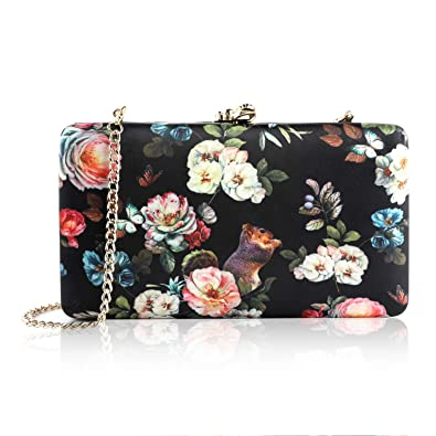 a9e56d12c6f2 two the nines Women s Floral Print Satin Evening Bag Clutches Thin Chain  Hardcase Purses