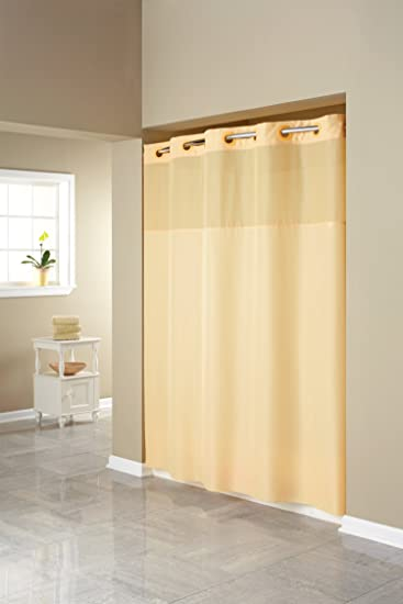 Hookless RBH40MY407 Fabric Shower Curtain With Built In Liner Yellow