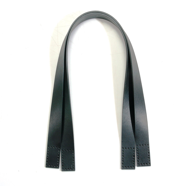 60cm byhands 100% Genuine Leather nero Purse Handles Bag Handles (20-4101)