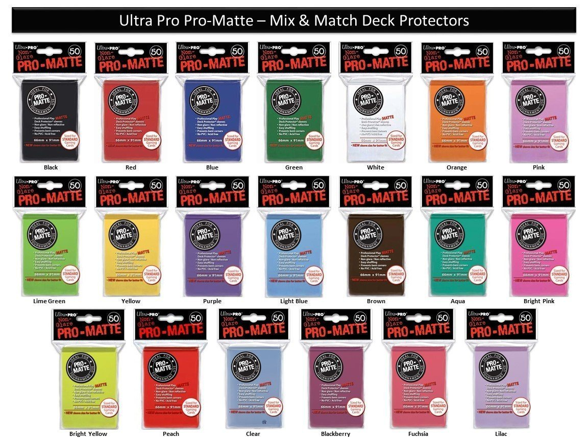 300 Ultra Pro PRO-MATTE Deck Protectors MIX & MATCH (6x 50ct Packs) Sleeves Standard MTG Size Black, Blue, Red, Etc. Your Choice from 20 Available Colors! Ultra-PRO