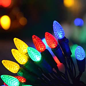 Homeleo 50 Counts Multi-Colored Led Christmas Lights, Battery Powered String Lights, Strawberry Shaped Fairy Lights for Christmas Wreath Garland Tree Decorations