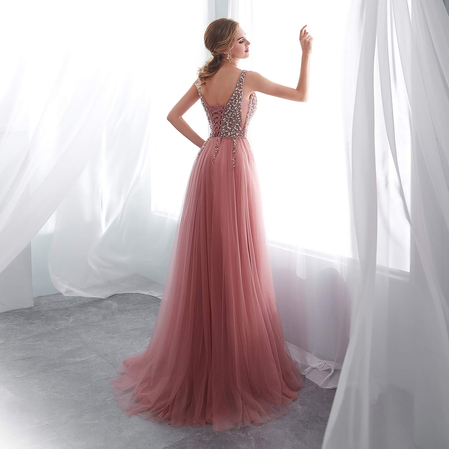 c0eb83c9 iLovewedding Prom Dresses High Slit V Neck Sequins Tulle Long Evening Gowns  at Amazon Women's Clothing store: