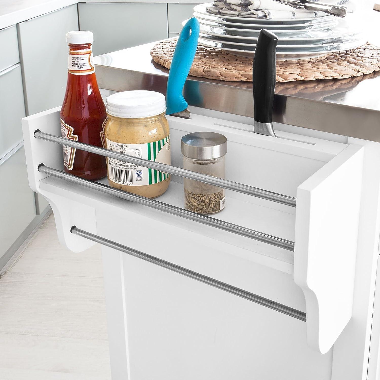sobuy fkw33-w xxl arbeitsplatte de luxe, servierwagen auf rollen ... - Küchenwagen Mit Mülleimer