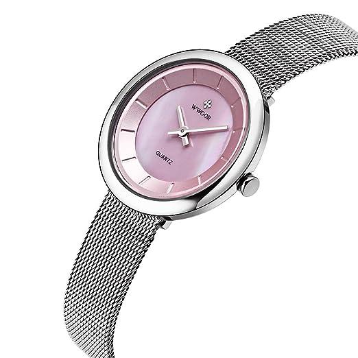 wwoor mujeres relojes quartz-watch señoras reloj mujer cupones para relojes mujer Classic Retro inoxidable correas WR0014: Amazon.es: Relojes
