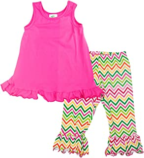 product image for Cheeky Banana Little Girl Swing top & Ruffle Leggings Hot Pink Chevron