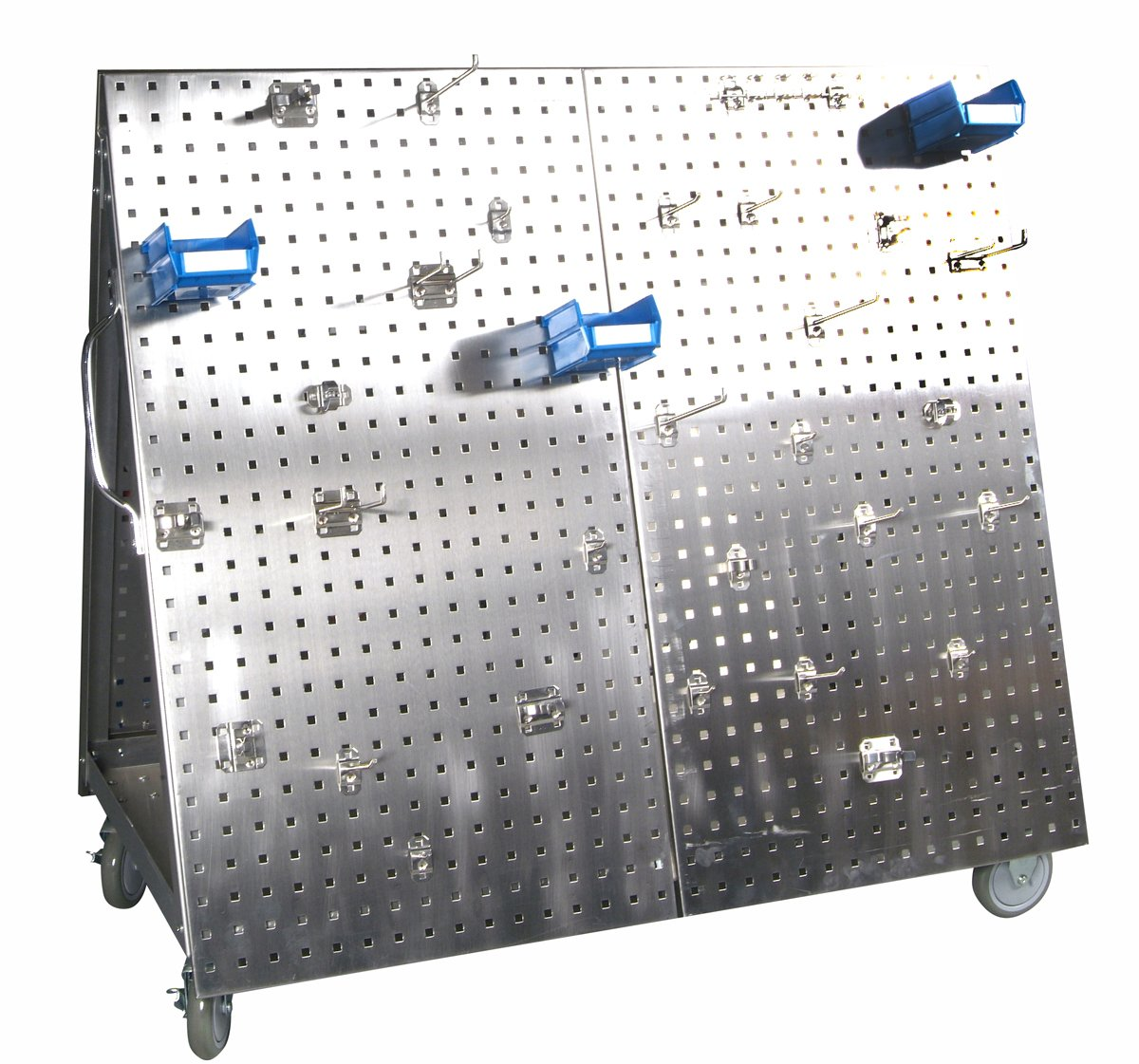 Triton Products Locking Pegboard Hooks LBC-4SH Anodized Aluminum Frame SS LocBoard Tool Cart with Tray, 66 Piece Stainless Steel LocHook Assortment & 6 Hanging Bins, 48'' x 46'' x 26-5/8'', Silver by Locking Pegboard Hooks