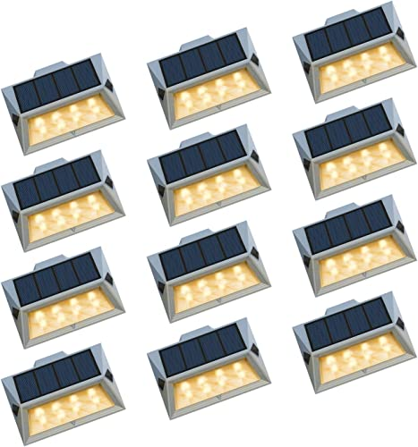 Roopure Solar Powered Step Lights 8 LED Solar Deck Lights Outdoor Warm White Decoration for Stair Fence Path Auto ON Off Waterproof Upgrade