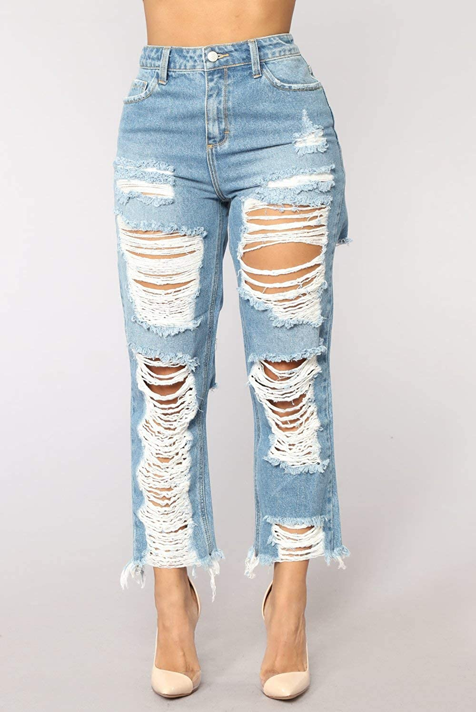DAMENGXIANG Jeans Rectos Nuevos De Las Mujeres Agujeros ...