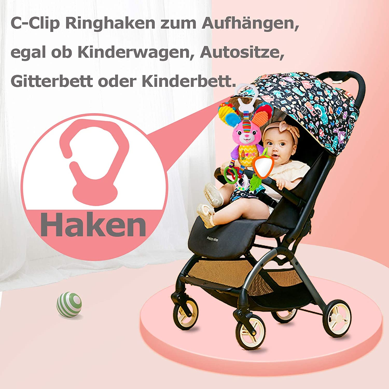 Rolimate Baby Spielzeug Kinderwagen Spielzeug Hochwertiges H/äschen Pl/üschtier Kleinkindspielzeug,Beste Geburtstags Neugeborene,ab 0 Monat