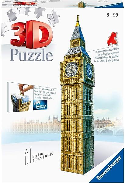 Ravensburger- Big Ben 3D Puzzle, 216pc, Color marrón, Amarillo, Gris, 27.2 x 19.3 x 6.9 (646607): Amazon.es: Juguetes y juegos