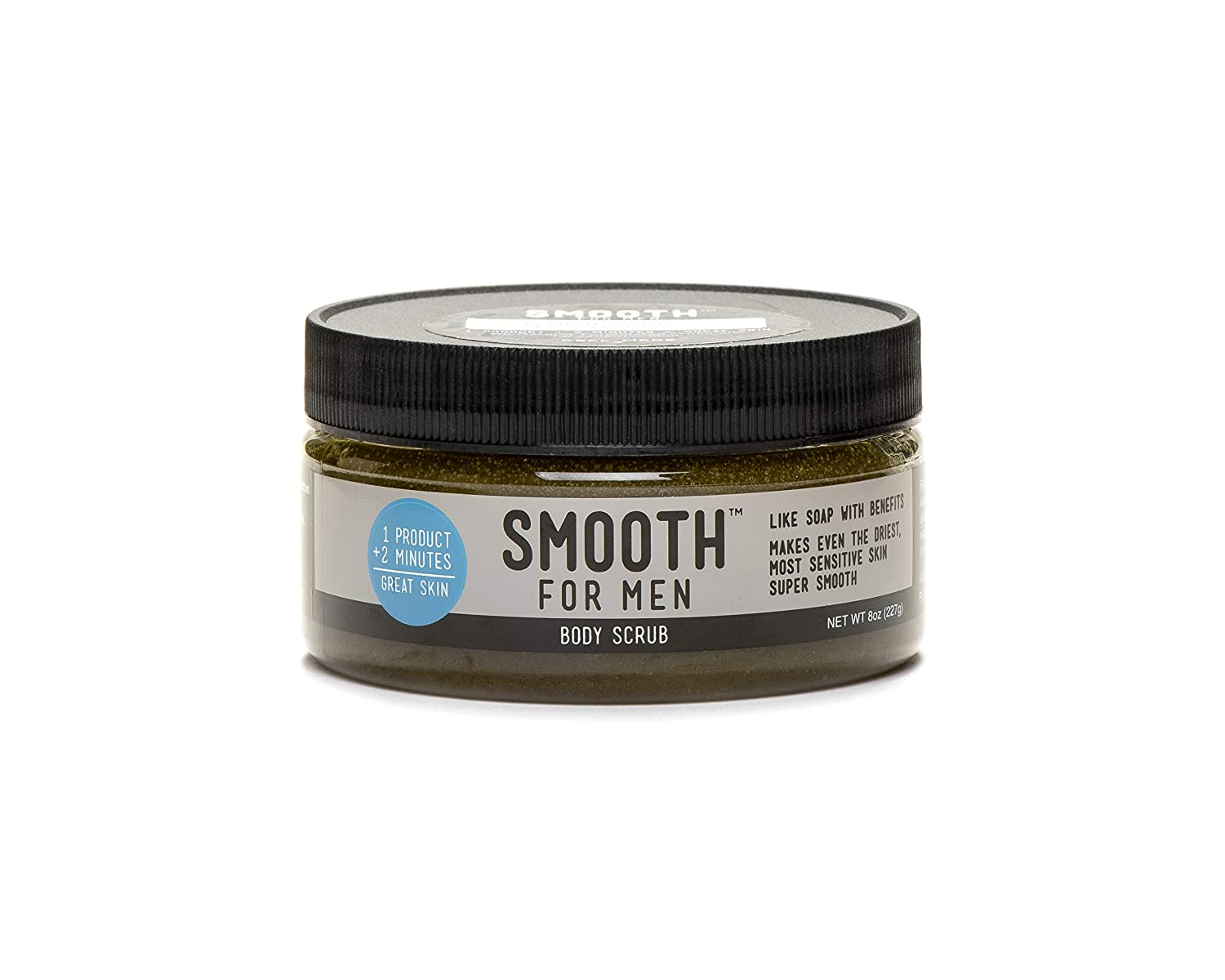Smooth for Men Green Tea with Tea Tree Oil Body Cleansing Exfoliating Moisturizer - For Sensitive Skin - Oily Skin, Acne Prone Skin