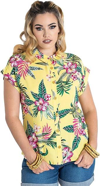 Hell Bunny Mujer Kalani Manga Corta Camisa Hawaiana: Amazon.es: Ropa y accesorios