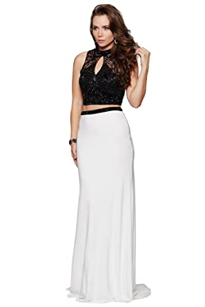 Milano Formals High Cut Out Neck Long Fitted Two Piece Black White