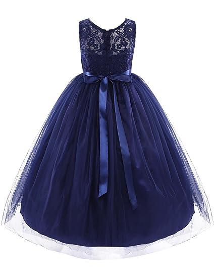 YiZYiF Vestido Infantil Tul Vestido De Ceremonia Bautizo Encaje Vestido De Noche Organza Princesa Fiesta para Niña 4 Años A 14 Años: Amazon.es: Ropa y ...
