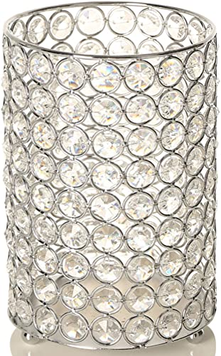 VINCIGANT Home Decoration Silver Crystal Floor Vase Tealight Candle Holder Wedding Centerpieces,8.3 Inches Tall
