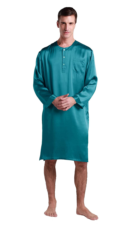 LilySilk 22 Momme Seiden Morgenmantel Nachthemd Nachtkleider Herren