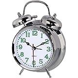 Hama Analoger Nostalgie Glockenwecker (lauter Alarm, Quarzlaufwerk, selbstleuchtender Stunden und Minutenzeiger, Hintergrundbeleuchtung) silber