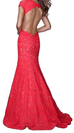 Endofjune Womens Long Orange Lace Evening Prom Dresses US-4 Red