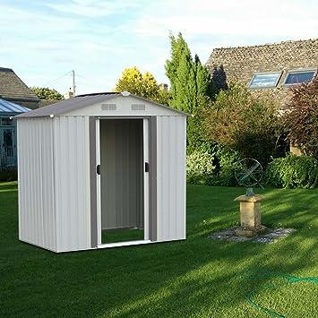 Cobertizo grande de 4 x 6 pies para almacenamiento de jardín sin marco de suelo por
