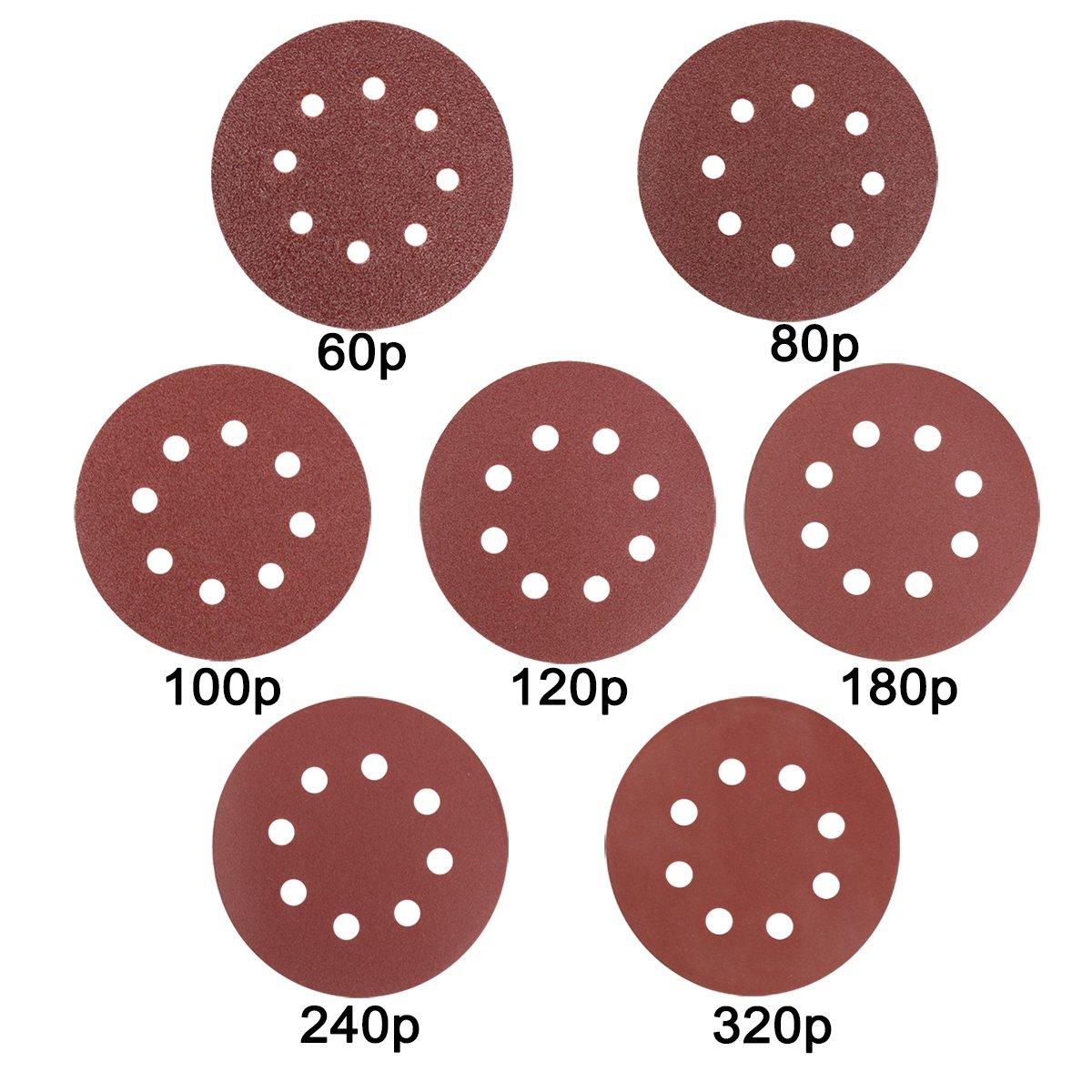 Naisidier 70Pcs 8 Holes Sanding Discs 5inch Hook and Loop Sandpaper Sanding Sheets Assorted 60/80/100/120/180/240/320 Grit for Random Orbital Sander