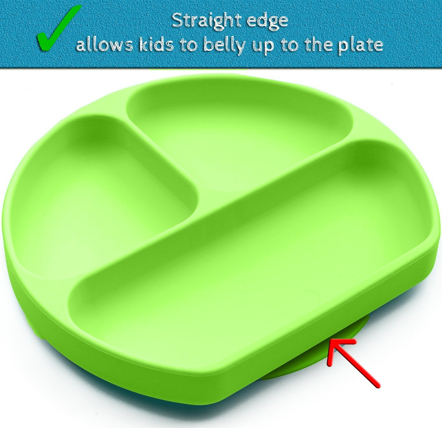 SiliKong Silicone Suction Plate for Toddlers, Fits Most Highchair Trays, BPA Free, Divided Baby Feeding Bowls Dishes for Kids (Green) by SiliKong (Image #6)
