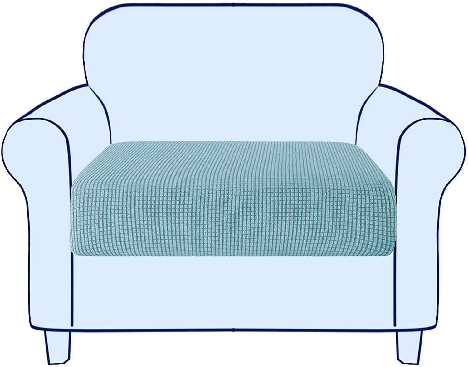 subrtex Couch Sofa Cushion Slipcover Seat Slip Covers Loveseat Stretch Durable Chair Sofa Protector Cushion Spandex Elastic Furniture Protector for Settee Sofa Seat in LivingRoom (Small,Steel Blue)