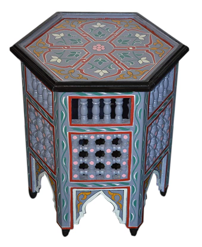 Moroccan Handmade Wood Table Side Moucharabi Delicate Hand Painted Purple