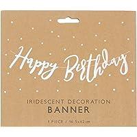 Happy Birthday Renkli Metalize Kağıt Harf Afiş 16, 5x62cm 1 Adet