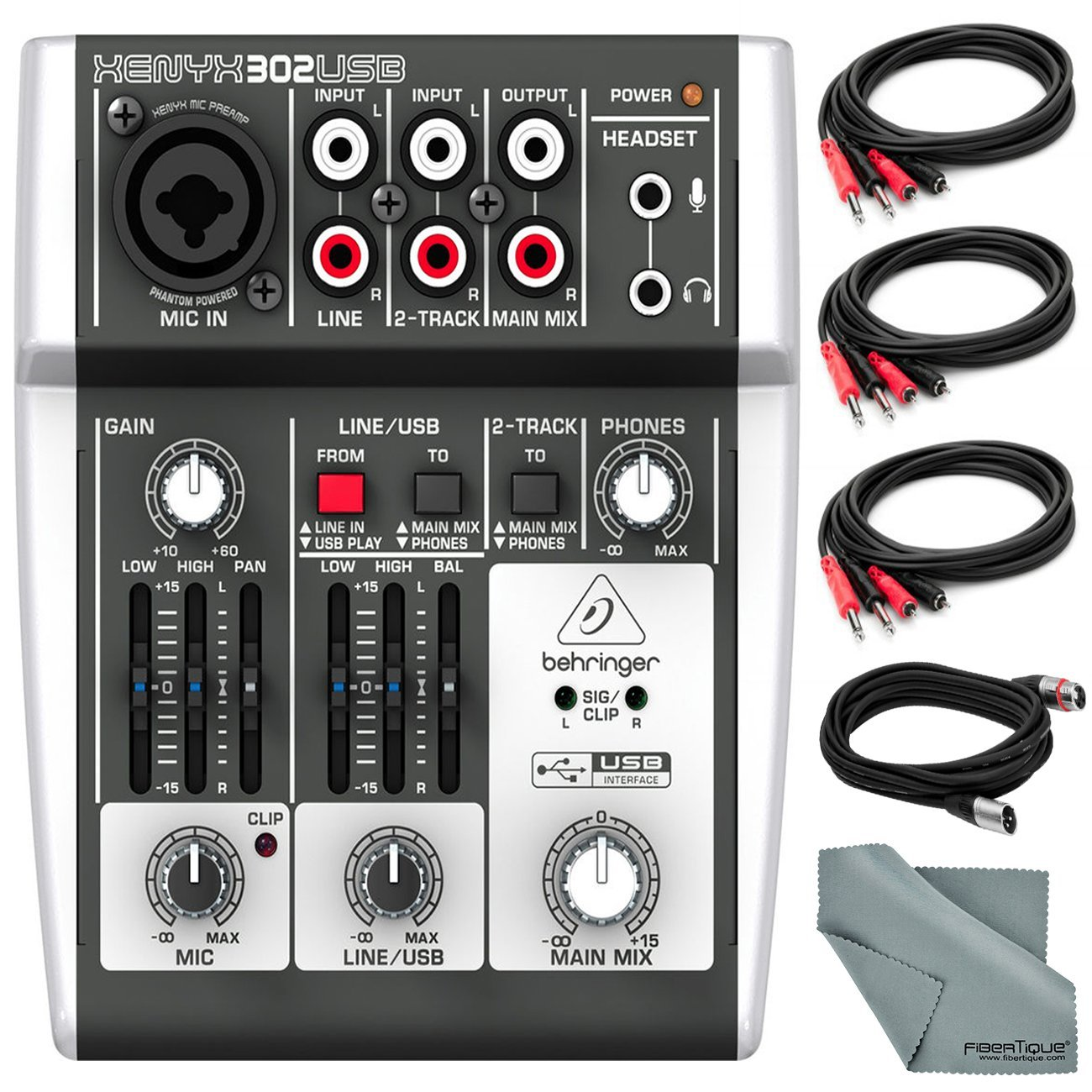 Behringer XENYX 302USB 5 Input Mixer and USB Interface & Accessory Bundle w/Cables + Fibertiqe Cloth