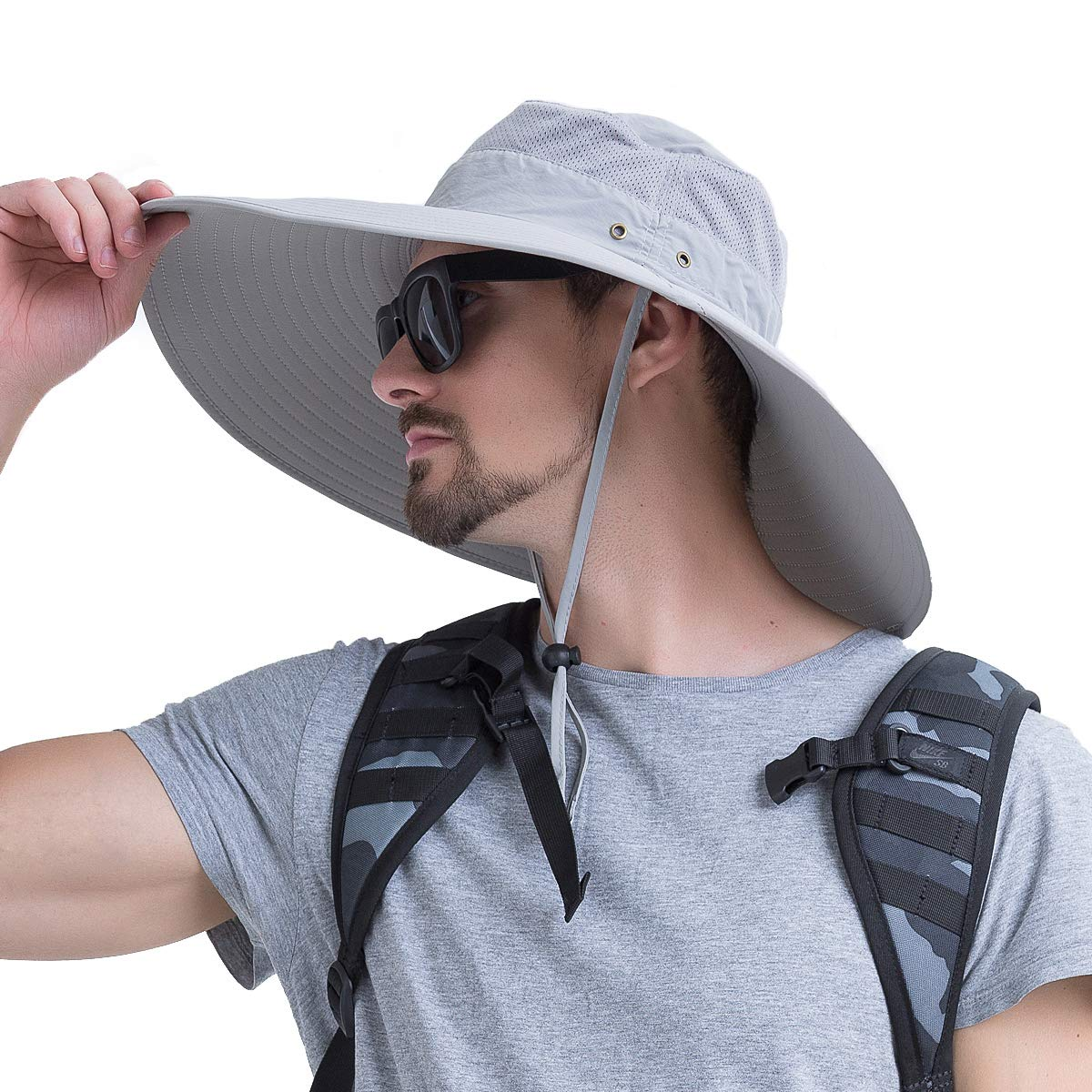 YR.Lover Super Wide Brim UPF50 Sun Protect Hat Men s Boonie Hat Bucket Hat for Fishing, Hiking, Camping