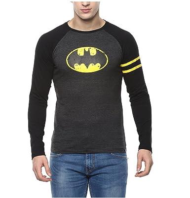 962323e7e Urbano Fashion Men's Cotton Superhero Batman Round Neck Full Sleeve T-Shirt  (Grey,