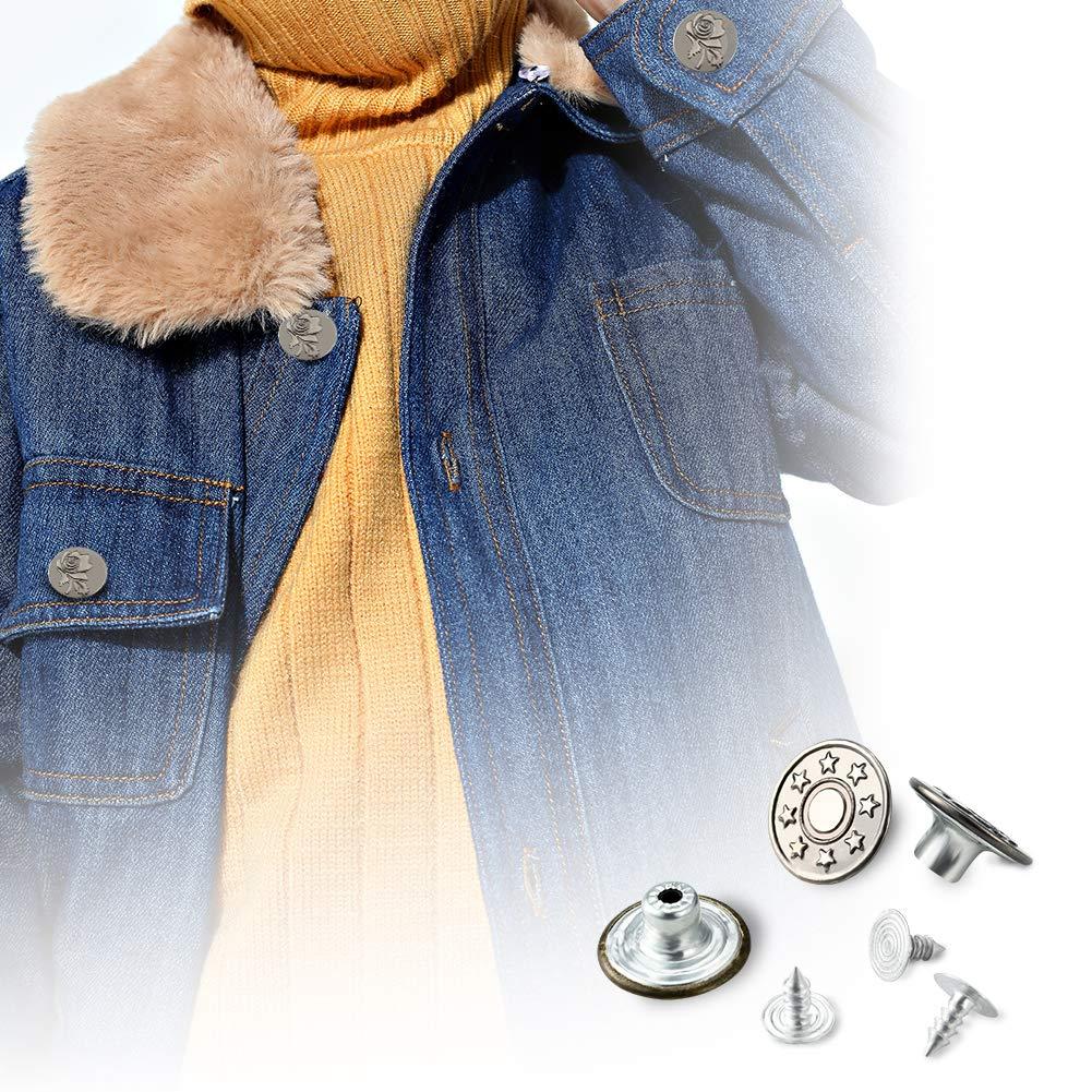 80 St/ücke Ersatz Knopf mit Aufbewahrungsbox f/ür Bekleidungs Reparatur Riemen und N/ähen Jobs Irich Metall Jeanskn/öpfe mit Nieten-Verschluss Jacken 17 mm Durchmesser