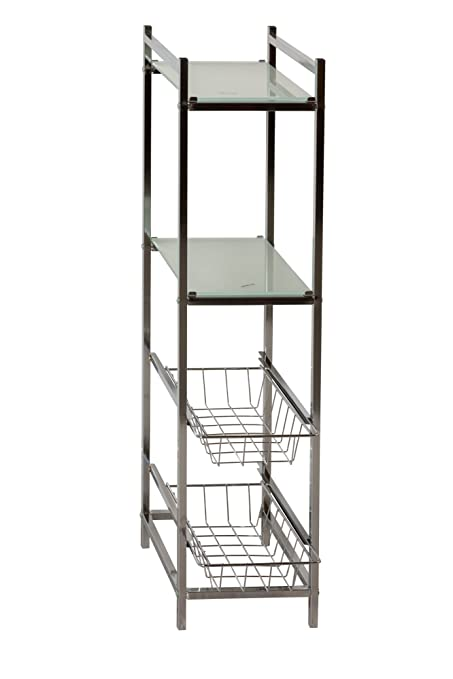 Aspect Burlington 4 Tier Storage Shelf, Steel, Chrome, 21.5 X 29.5 X