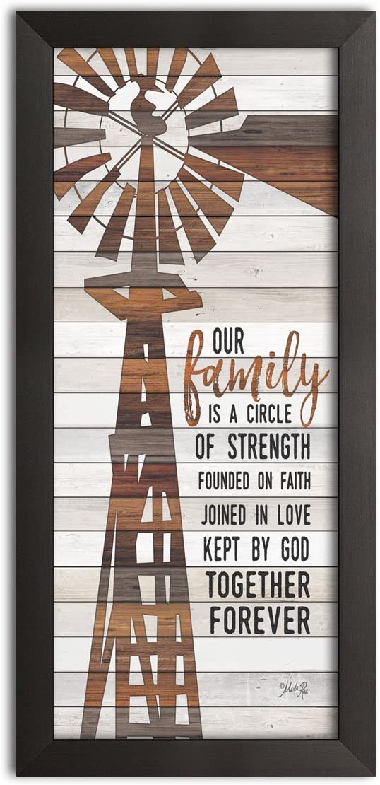Gango Home Decor Country-Rustic Family Circle Windmill by Marla Rae (Ready to Hang); One 8x18in Black Framed Print