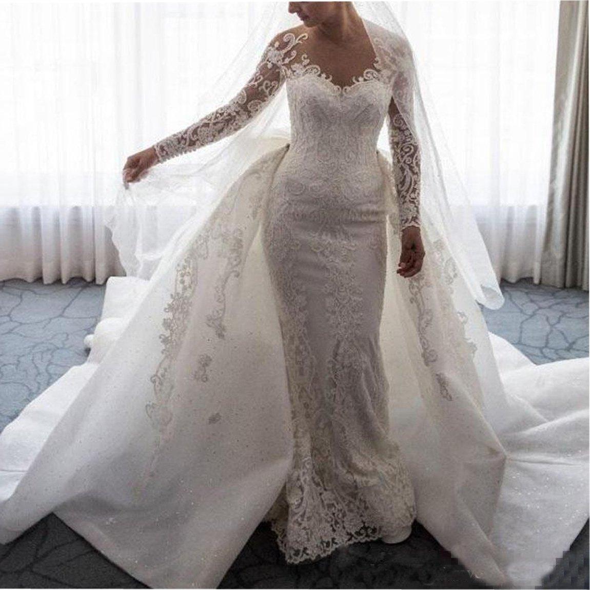 Ainisha Womens Elegant Long Sleeves Mermaid Wedding Dress Ball Gown Wedding Gown Lace Detachable Train Bridal Gown